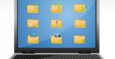 illustration of file icons in laptop on white background