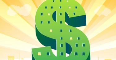illustration of dollar shape building on cityscape